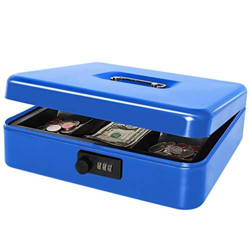 "Safe Metal Cash Box with Combination Lock, Decaller Large Lock Storage Money Box with Money Cash Tray, Black, 11 4/5"" x 9 2/5"" x 3 1/2"", QH3002L"