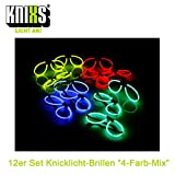 KNIXS 12er Set Knicklicht-Brillen inklusive 24x Arm-Knicklichtern KNIXS im 4-Farbmix leuchtend für...