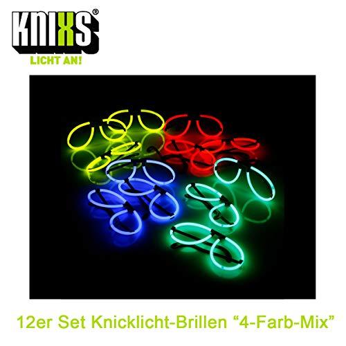 KNIXS 12er Set Knicklicht-Brillen inklusive 24x Arm-Knicklichtern KNIXS im 4-Farbmix leuchtend für Party, Disko, Junggesellenabschied oder Geburtstag