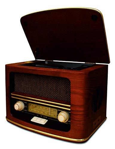 Radio Antigua Vintage Madera Autentica, Radio CD MP3,Retro USB Connector, FM - LW |Color Madera Radio Hogar con Control Remoto, Radio de los Muebles Caseros, Sala de Estar, Cocina| Diseño exclusivo
