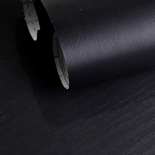 MS magic 17.7' x 118' Black Wood Wallpaper Black Self Adhesive Wallpaper Removable Wallpaper Peel and Stick Wood Grain Contact Paper for Cabinets Living Room