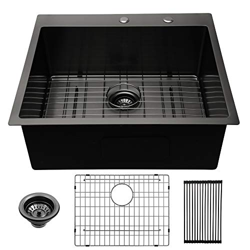 Lordear 25 Inch Drop-in Topmount Sink 16 Gauge R10 Tight Radius...
