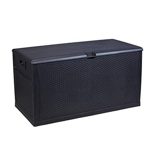 Patio Deck Box Outdoor Garden Storage Plastic Bench Box,120-Gallon