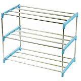 Diligencer Sturdy Plastic Stainless Steel Stackable Assembly Shoe Rack for Home Wall Entryway Over Door Closets Organizer Shoes Rack Ms Men Kids (Pink/Green/Blue)