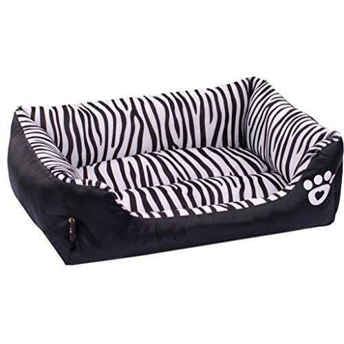 XLO Orthopedisch huisdier bed, gestreepte bank-stijl Chaise hond bed knuffel met hond Paw afdrukken voor honden en katten, zwart, M