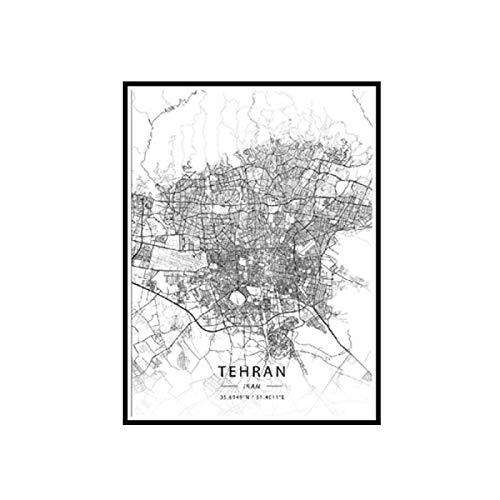 Blanco y negro Teherán Irán blanco latitud longitud lienzo arte mapa póster sala de estar decoración del hogar-20x28 pulgadas sin marco 1 Uds