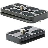 2 Stück Professionelle Kamera Schnellwechselplatte Kameraplatte 50mm & 60mm QR Platte für Arca-Swiss Stativ mit 1/4 Zoll Stativgewinde(schwarz)