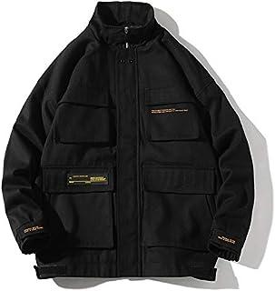 HAWEEL Trend Multi-pockets Top Loose Coat Simple Casual Jacket for Men Windbreaker Jacket