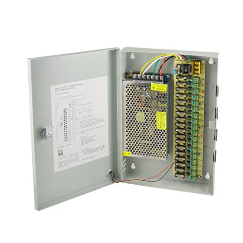 Aexit DC 12V 10A 18 CH 18 canales Cámara CCTV Caja de fuente de alimentación distribuida (7d19811e0afc90f0cdb543aa2d40a437)