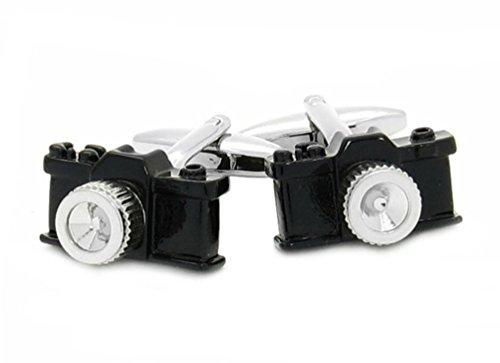 Unbekannt Manschettenknöpfe Fotokamera Kamera schwarz silbern inkl. roter Exklusivbox