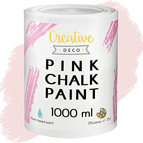 Creative Deco Rosa Pintura de Tiza | 1000 ml | Mate y Lavable Renovación de Muebles, Decoración y Decoupage | Posible Efecto de Barrido y Gradiente