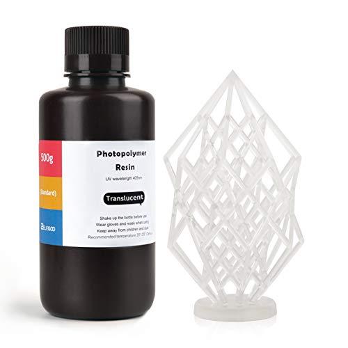 ELEGOO LCD UV 405nm ABS-Like 3D Resina Rápida para LCD Impresora 3D 500g Fotopolímero Resina Translúcido
