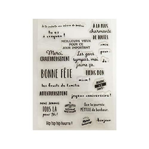 Abcidubxc Sello de silicona, letras francesas para manualidades, decoración de álbumes de recortes