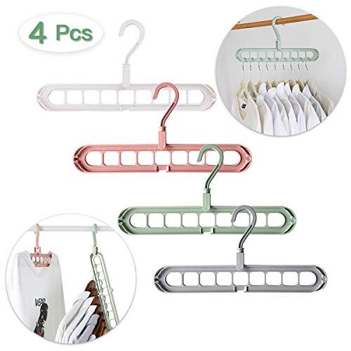 LOVEXIU Appendiabiti Salvaspazio 4PCS, Grucce Appendiabiti Salvaspazio, Appendiabiti Plastica da Armadio, Appendiabiti Pieghevole Organizzatore Hangers Multifunzionale per Conservazione dei Vestiti