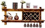 WANNA.ME Hanging Wine Rack,Wine Rack, Wall-Mounted Solid Wood Multi-Function Goblet Cup Holder Home Storage Decoration Rack Wine Glass Rack (Size : 120cm)