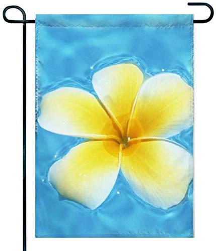Dolores Aquamarine Blue Lagoon and Hawaiian Yellow Plumeria Flower Garden Flag 12×18