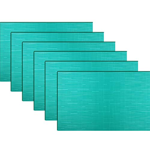 """pigchcy Placemats,Washable Vinyl Woven Table Mats,Elegant Heat-Resistant Placemats for Dining Table Set of 6(18""""X12"""",Dark Turquoise)"""