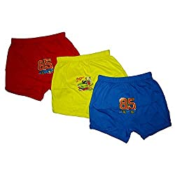 Littly Cotton Baby Boxers, Pack of 3 (Blue, Red, Yellow)