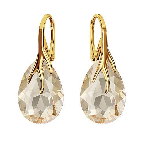 Beforya Paris – Pera – Argento 925 placcato oro 24 K – Orecchini a monachella – Molti colori – Splendidi orecchini da donna con cristalli Swarovski PIN/75