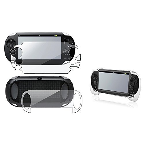 eForCity® White Hand Grip+Clear Full Body Screen Protector Guard Compatible With SonyPlayStation Vita PCH-1000 (PS Vita)