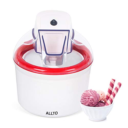 Ice Cream Maker—Automatic Easy Homemade Electric Kitchen Machine,Frozen Yogurt Machine,For DIY,Gelato, 1.6 Quart,White&Red