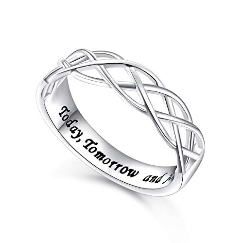 Wedding Ring Sterling Silver Engraved Today Tomorrow and Always Celtic Lover Engagement Ring, Size 8