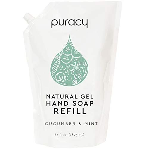 Puracy Natural Gel Hand Soap Refill, Cucumber & Mint, 64 Ounce, Skin Softening Liquid Hand Wash