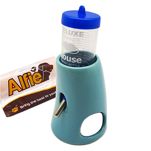 Alfie Pet - 2-in-1 Water Bottle with Hut for Small Animals Like Dwarf Hamster and Mouse - Color: Blue