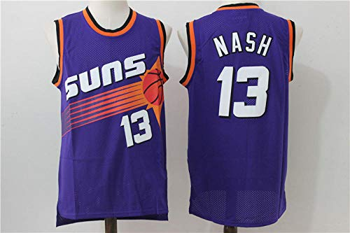 ZJFXSNEH Maillot NBA Jersey Sun Team 13# Nash34# Buckley Retro Mesh Basketball Mesh Homme Violet 13 S