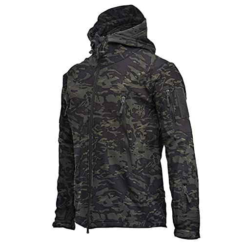 Chaqueta SoftShell impermeable al aire libre Caza cortavientos esquí abrigo senderismo lluvia, Negro 1, XXXL