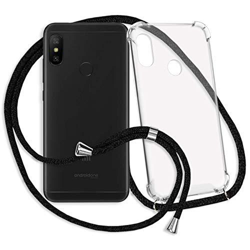 mtb More Energy® Collar Smartphone para Xiaomi Mi A2 Lite/Redmi 6 Pro (5.84'') - Negro - Funda Protectora ponible - Carcasa Anti Shock con Cuerda