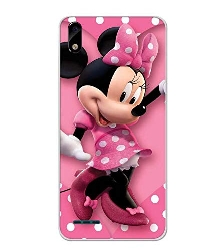 Bluethroat Polka Dot Pink Mickey Mouse Designer Printed Soft Silicone Mobile Case Back Cover for Lava Z51