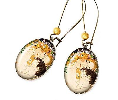 Boucles d'oreilles * La mère et l'enfant * bijou rétro Gustav Klimt fête des mères maman