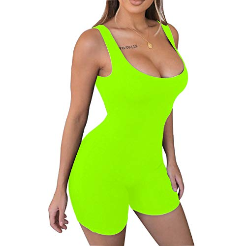 LuFeng Women's Sexy Sleeveless Tank Tops Backless Short Jumpsuits One-Piece Bodysuit Sports Jumpsuit Neon Lime