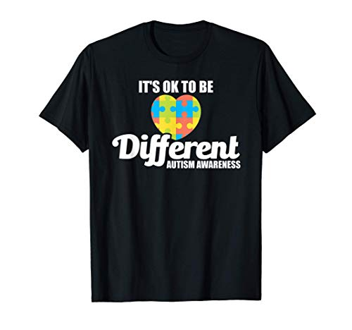 Cute It's OK To Be Different Autism Awareness Puzzle Heart Camiseta
