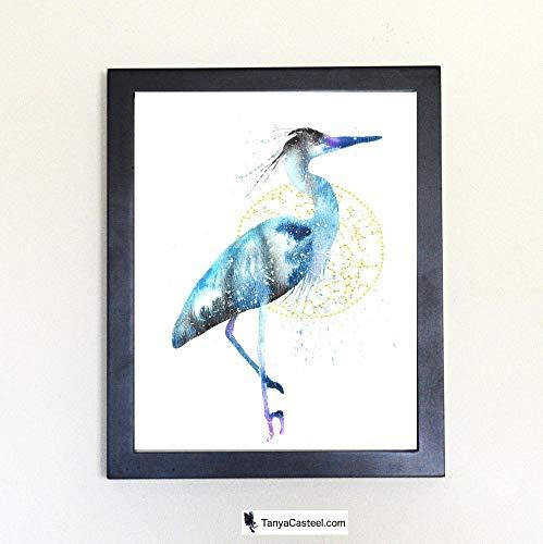 Blue Heron/Egret Cosmic Animal Art Print from Watercolor Painting