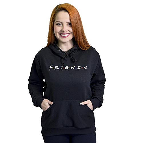 Moletom Feminino Série Friends Flanelado Blusa (Preto, M)