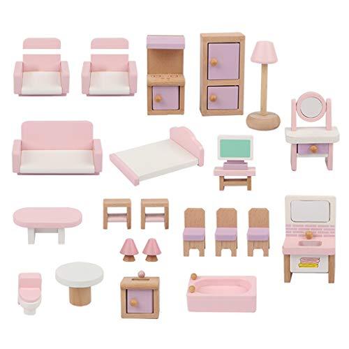 Juego de muebles de casa de muñecas de madera, 22 piezas, totalmente montado
