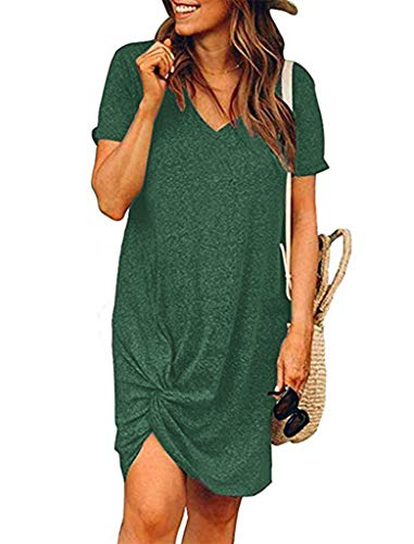 Green casual tshirt with twist knot