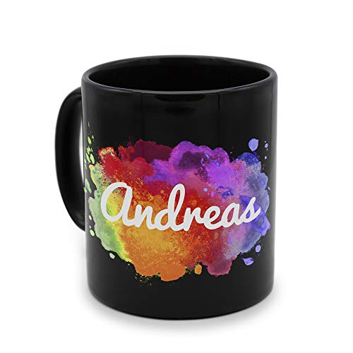 printplanet - Tasse Schwarz mit Namen Andreas - Motiv: Color Paint - Namenstasse, Kaffeebecher, Mug, Becher, Kaffeetasse
