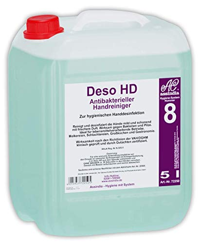 Assindia Deso HD Antibakterieller Handreiniger Händedesinfektion DGHM geprüft 5l Kanister