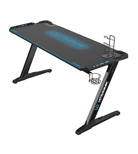 Ultradesk Space XXL Blau - Gaming Tisch, Computertisch, großer Schreibtisch mit LED RGB