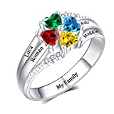 YokeDuck Mothers Ring with 4 Birthstones Personalized, 925 Sterling Silver Custom Engraved Name Anniversary Ring for Women, Grandmother