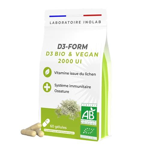 Première Vitamine D3 100% BIO VEGAN   Lichen naturel certifié sans pesticides toxines métaux lourds   2000 UI / gélule   Immunité Os Dents Muscles   60 gélules.
