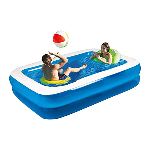 10ft Rectangular Inflatable Paddling Pool Kids and Family Large pool Easy to Assemble Blue Pool with Drainage Plug in Size 305 cm x 183 cm x 50 cm