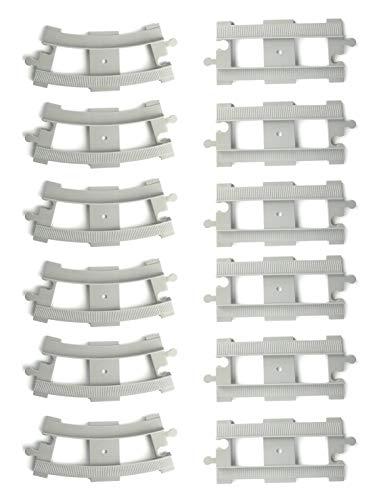 Aliris 6 Binari Curvi e 6 Binari Diritti - Grigio Chiaro - Compatibile con noti mattoncini da Costruzione