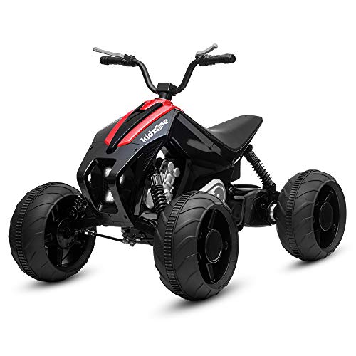 Kidzone Team 7 Kids Ride On ATV, Powerful 12V Battery Powered 45W Electric Vehicle 2 Speed W/Four Wheels Suspension Design, LED Headlight, MP3/USB Music Player, Red
