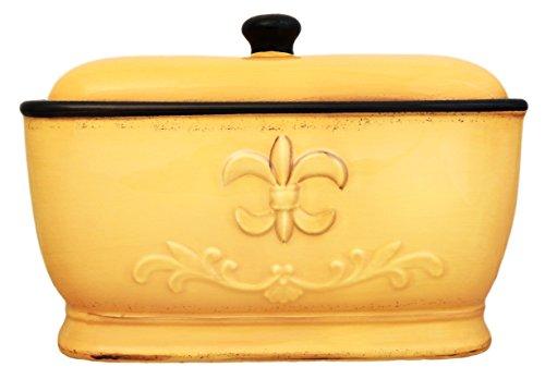 Tuscany Fleur De Lis Bread Box/Toast Jar Color: Yellow