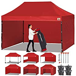 ABCCANOPY Canopy Tent Popup Canopy 10x15 Pop Up Canopies Commercial Tents Market stall with 6 Removable Sidewalls and Roller Bag Bonus 4 Weight Bags and 10ft Half Wall, Red