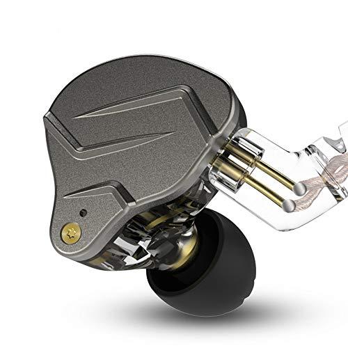 KZ ZSN Pro auricolari auricolari Yinyoo Hybrid Dynamic Driver Balanced Armature Auricolari Cuffie Dual Driver 1DD 1BA Deep Bass Stereo Sound Auricolari ergonomici confortevoli (grigio senza microfono)
